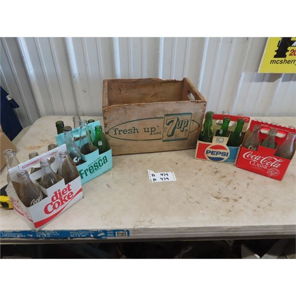 7 Up Crate & 4 x 6 Pack Carriers & 24 Bottles