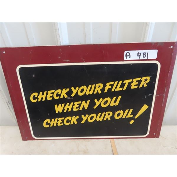 "Metal Service Filter & Oil Garage Sign 13"" x 19"""