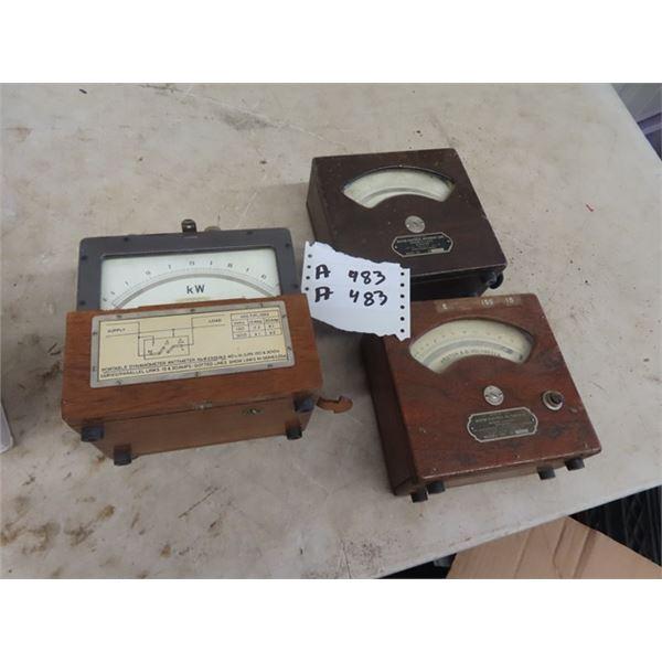 3 Vintage Testers Western Electrlonics 1) Amps Volts, KW