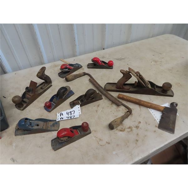 8 Wood Planers, Draw Knife, & Roofing Hammer