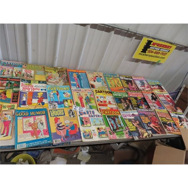 Approx 34 Men's Magazines & Cartoons 1980's & 1970's