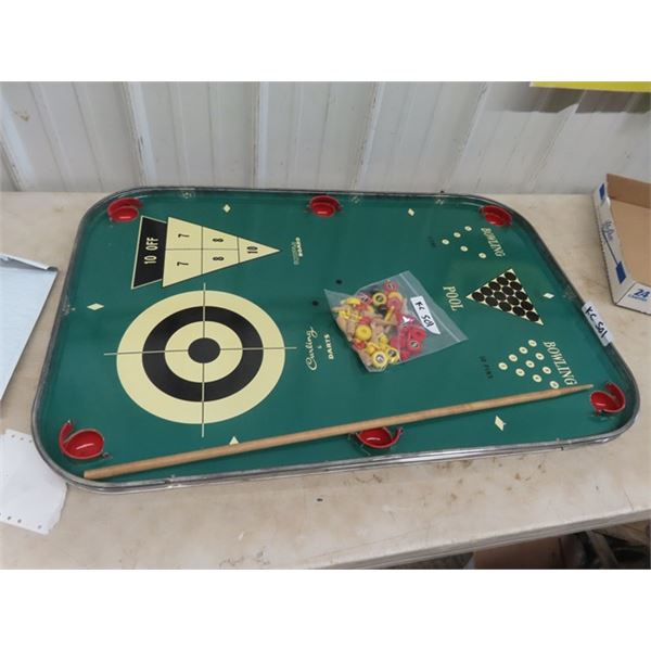 "Vintage Combo Game- Darts/ Shuffleboard Pool & Bowling 24"" x 36"""