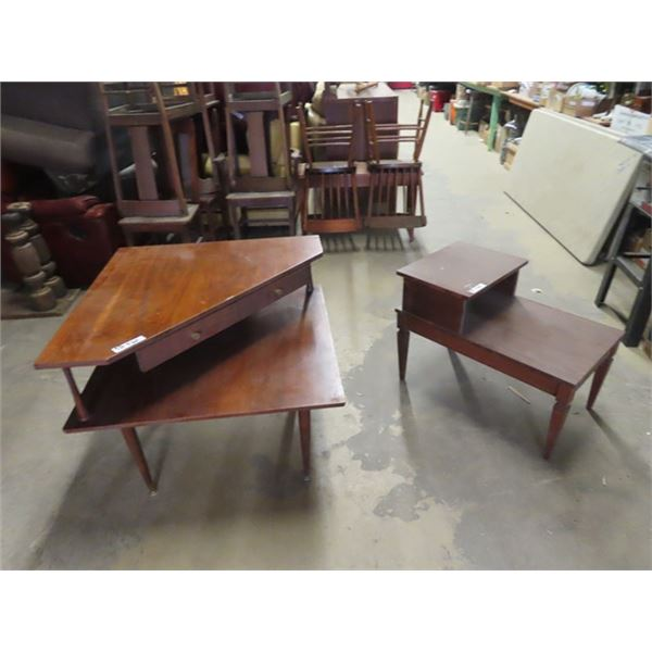 """2 End Tables 1) Step Back 22"""" x 17"""" x 30"""" & Corner Table 26"""" x 32"""" x 32"""""""