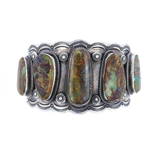 Navajo Jeffery Nelson Silver Turquoise Bracelet