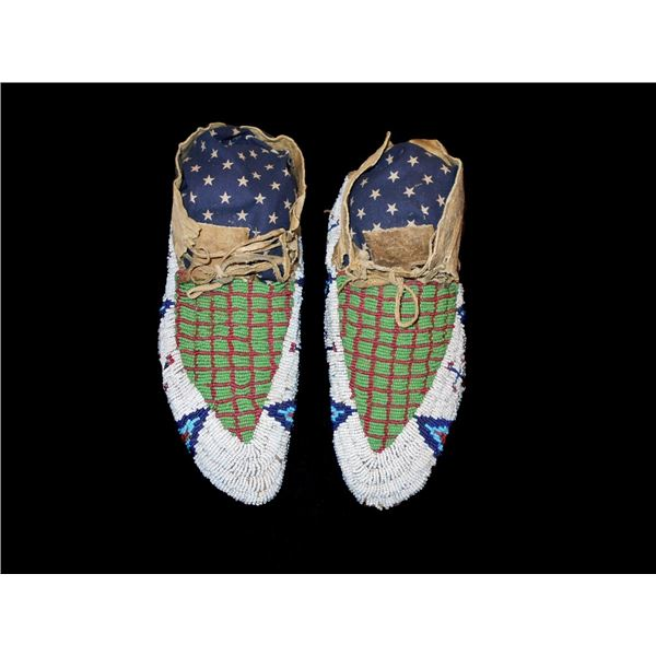 Sioux Fully Top Beaded Moccasins c. 1870-1880's