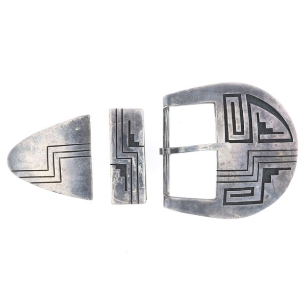 Hopi Poseyesva Silver Geometric Ranger Buckle