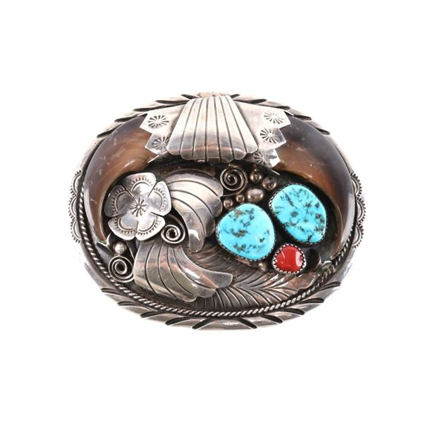 Navajo J Toadlena Hand Made Sterling Silver Buckle