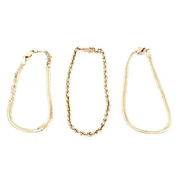14k Rope & Herringbone Chain Bracelet Collection