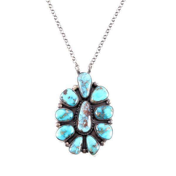 Navajo Tim Smith Silver Kingman Turquoise Necklace