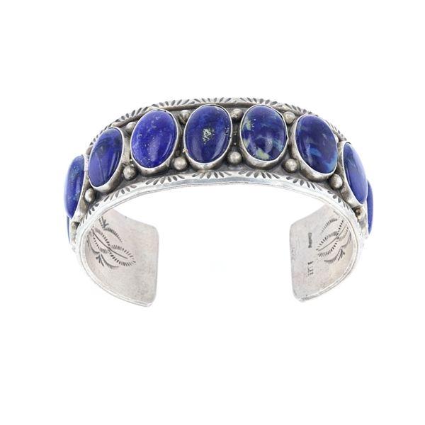 Navajo Betta Lee Silver Lapis Lazuli Bracelet