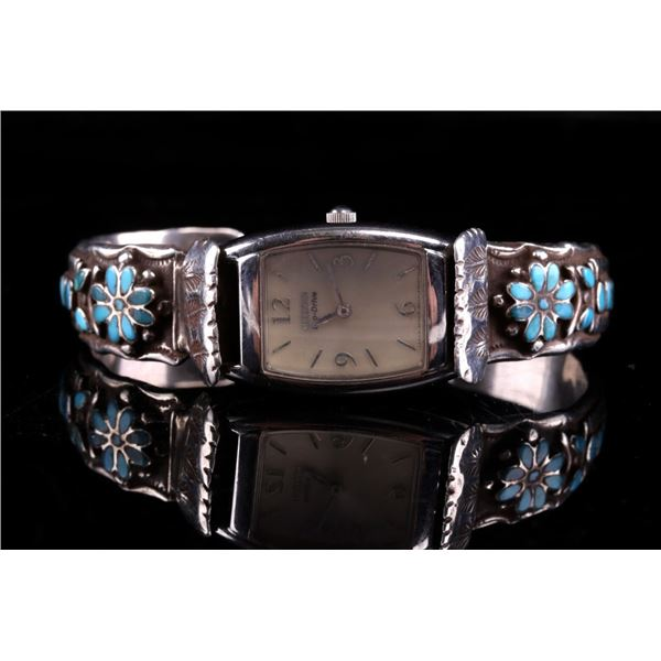Zuni Silver & Turquoise Signed Watch Band C. 1970
