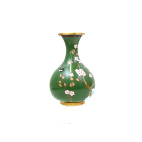 Green Chinese Cherry Blossom Cloisonne Vase