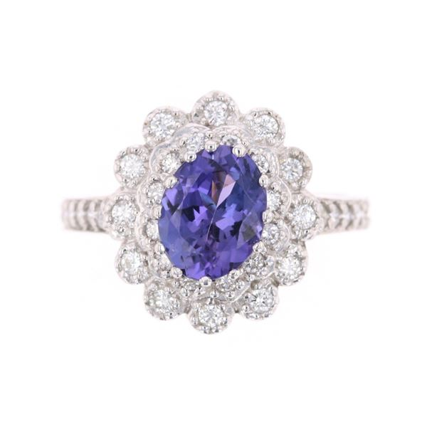 1.59 Carat Tanzanite Diamond & 14k White Gold Ring