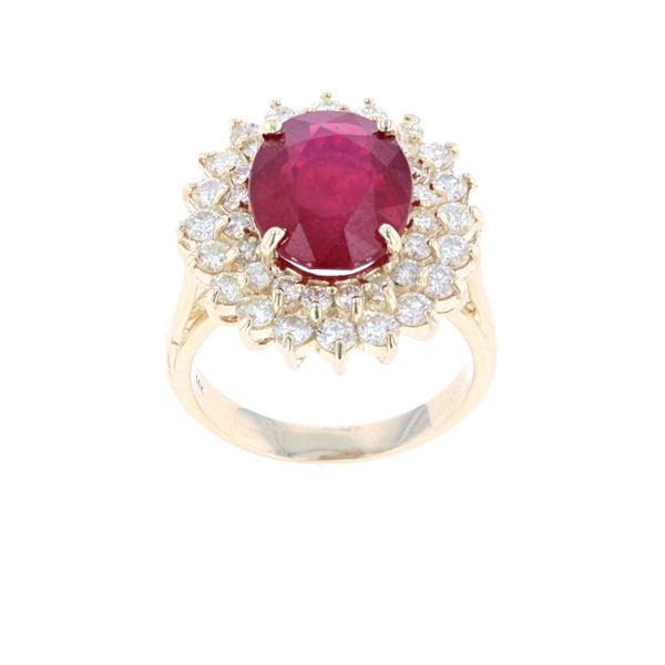 Brilliant Ruby Diamond & 14k Yellow Gold Ring