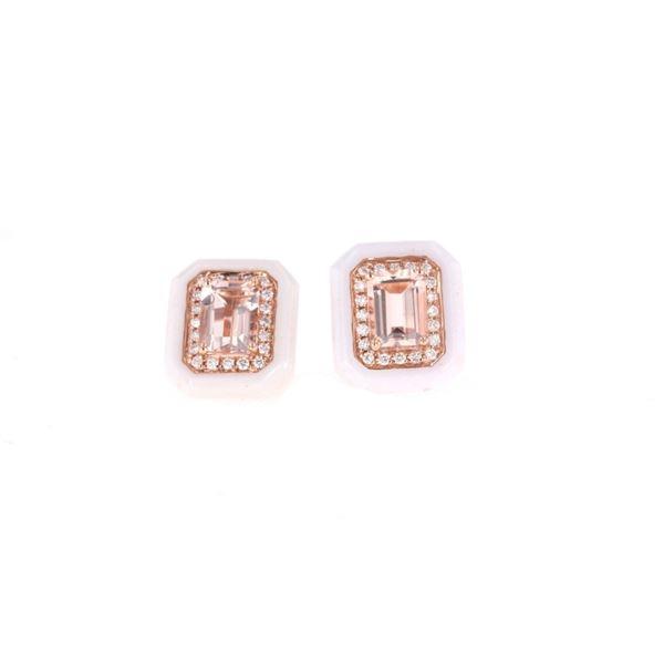 Morganite White Lace Agate & 14k Gold Earrings