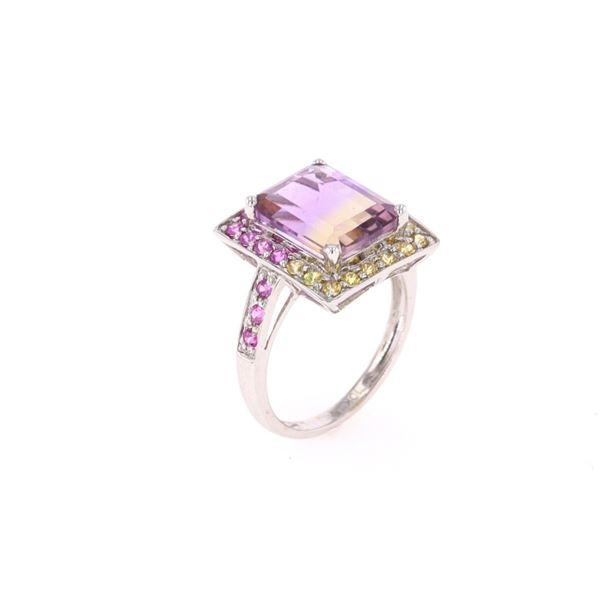 Bi-Color 4.34ct Ametrine & Sapphire 10k Gold Ring