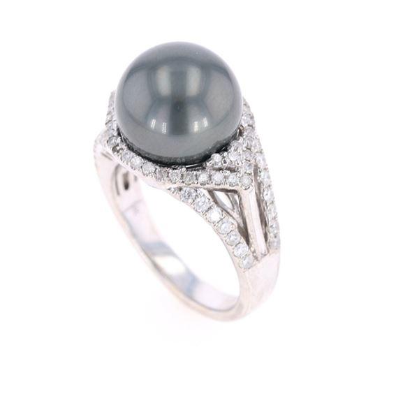 Scarce Black Tahitian Pearl Diamond 14k Gold Ring