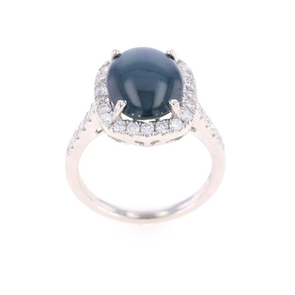 Star Blue Sapphire Diamond & Platinum Ring