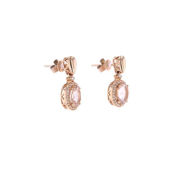 Morganite Diamond & 14k Rose Gold Earrings