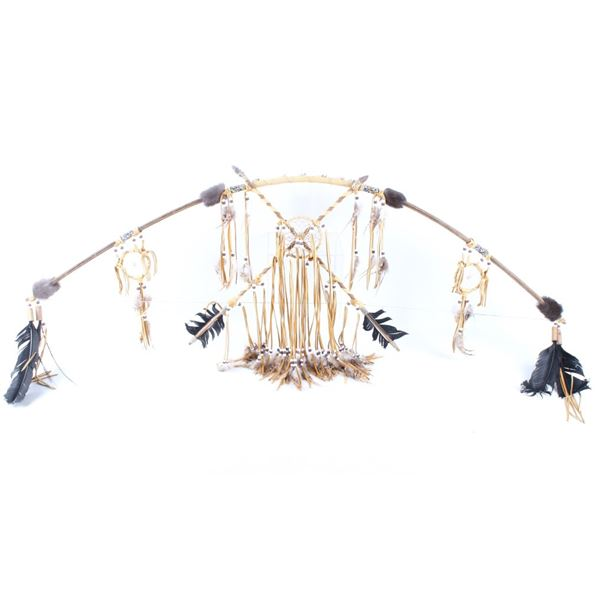 Indian Style Decorated Bow W/ Attached Arrows