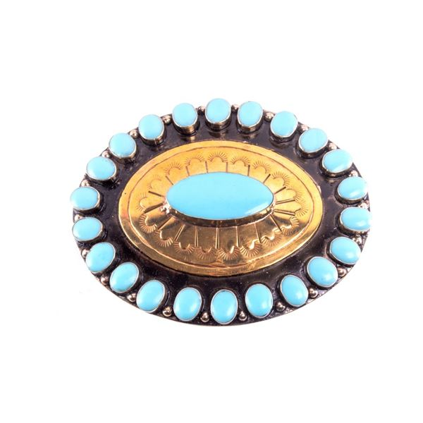 Armand American Horse Brass Turquoise Belt Buckle