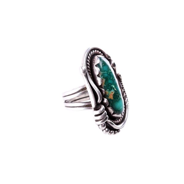 Navajo Silver & Cerrillos Turquoise Signed Ring