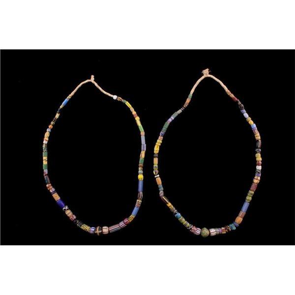 Pair Of Venetian Trade Bead Sampler Necklaces