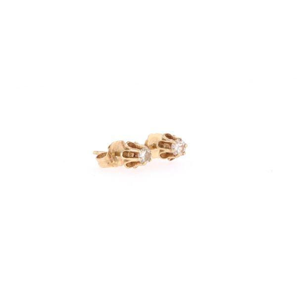 Estate Solitaire 1.2ct Diamond & 18k Gold Earrings