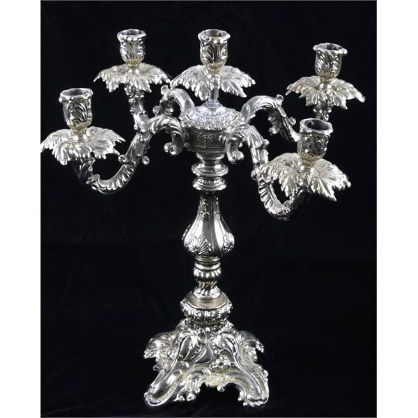 Ornate Silver Plated Five Candle Stick Holder
