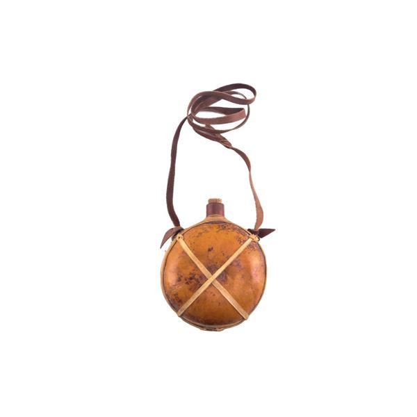 Buckaroo Parfleche Wrapped Trade Gourd Canteen