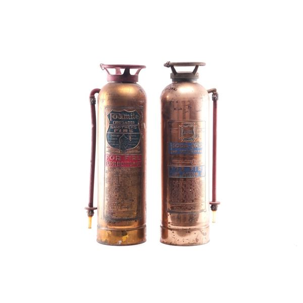 Brass Fire Extinguishers Pair circa Early 1900's