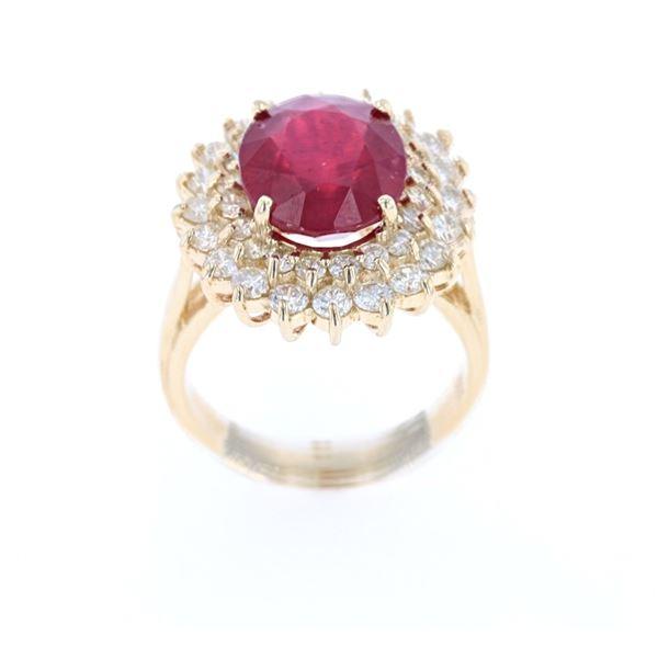 Antique Ruby Diamond & 14k Yellow Gold Ring