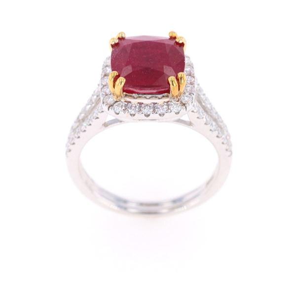 Ruby VS2 Diamond & 18k Two Tone Gold Ring