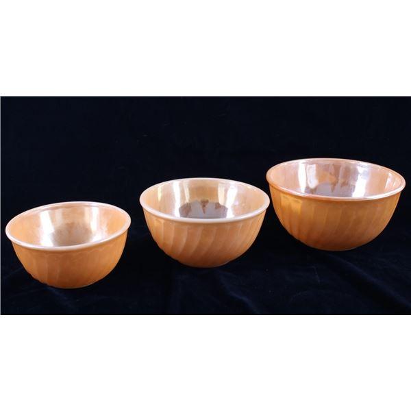 Mid 1900's Fire King Three Piece Art Glass Bowls