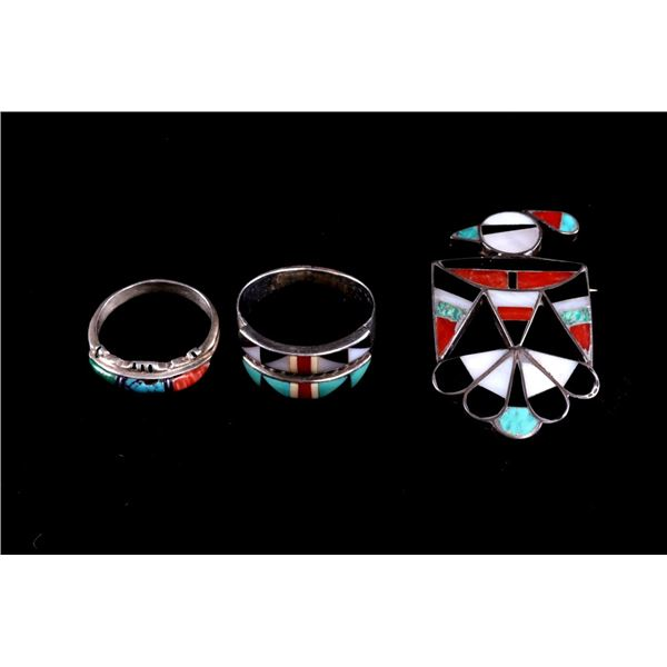 Navajo Sterling Silver & Multi Stone Rings & Pin