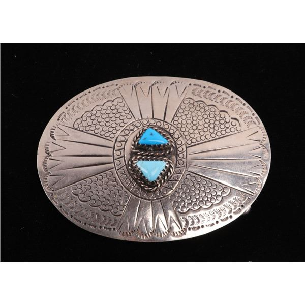 Alpaca Silver & Turquoise Signed Belt Buckle