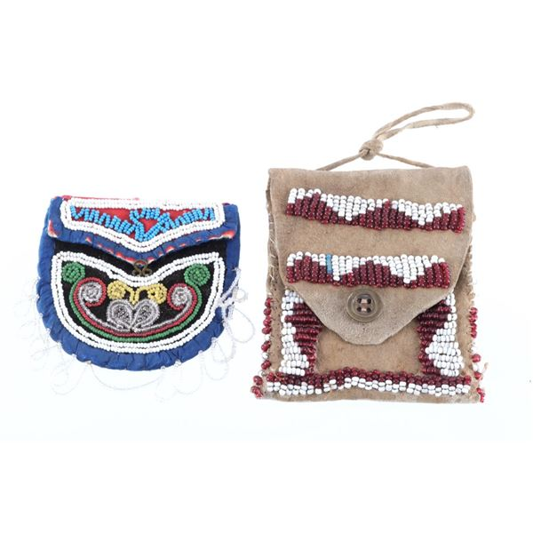 1900's Iroquois Beaded Flat Pouch & Trade Pouch