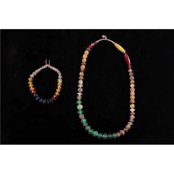 Pair Of Vaseline Trade Bead Necklaces