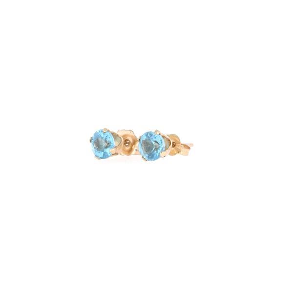 Estate Light Blue Spinel 14k Yellow Gold Earrings