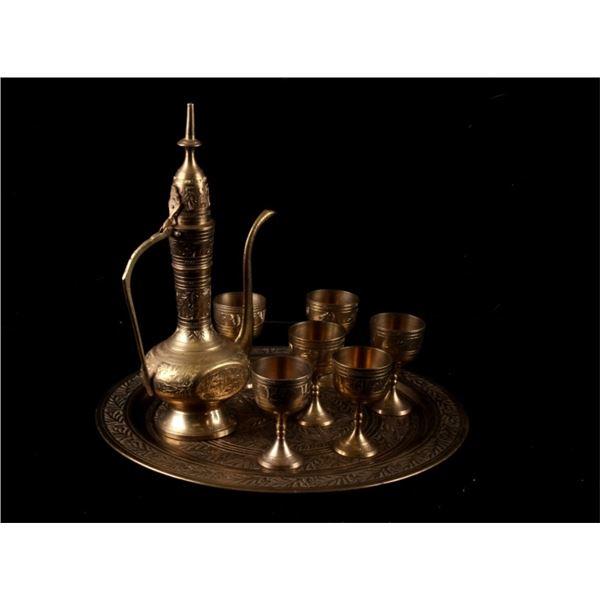 Antique Brass Ceremonial Turkish Tea Set