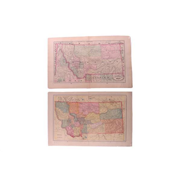 1800s Western County & Railroad Maps of MT, ID, WY
