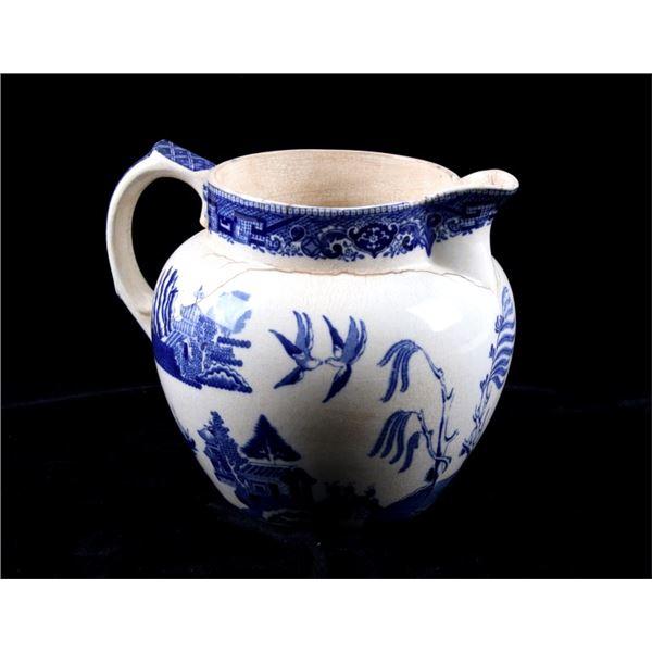 Chinese Style Painted Buffalo Pottery Pitcher