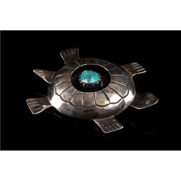 Armand American Horse Silver Turquoise Turtle Pin