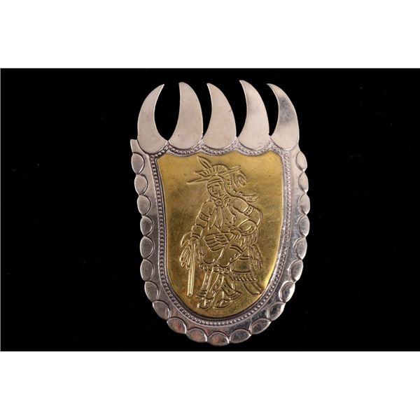 Armand American Horse  Silver & Brass Bear Paw Pin