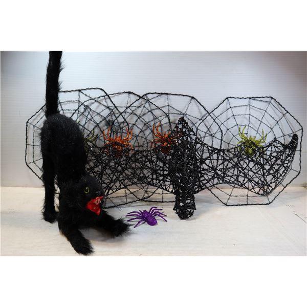 HALLOWEEN HANGING BAT, BLACK CAT, 4 SPIDER WEBS