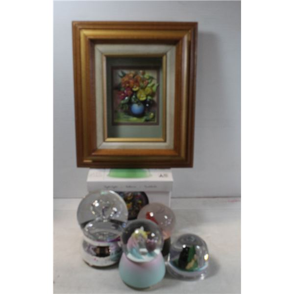 BOX WITH SNOW GLOBES AND PAPER TOLE PICTURE