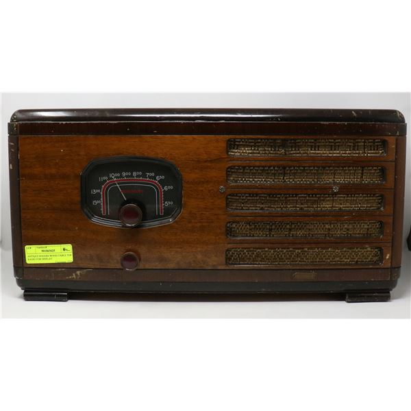 ANTIQUE ROGERS WOOD TABLE TOP RADIO FOR DISPLAY