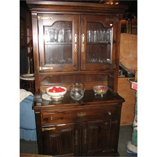 Dark Pine Hutch Cupboard China Cabinet 2170138