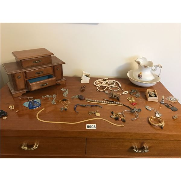Various Jewellery, Jewellery Box, Mini Pitcher & Bowl