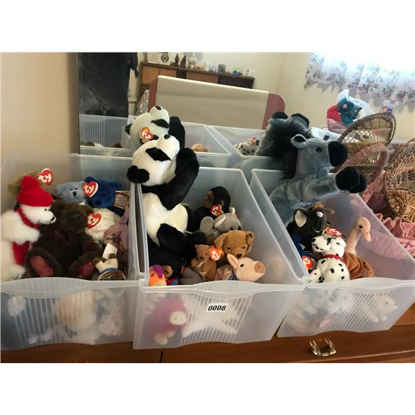 Large Collection of Beanie Babies with Plastic Drawers